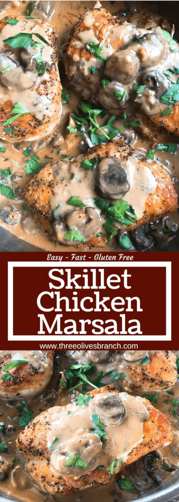 Skillet Chicken Marsala is a one pot meal ready in just 30 minutes. A quick and simple dinner recipe great with potatoes, pasta, rice, and vegetables. Chicken breasts cooked with Marsala wine sauce and mushrooms. Gluten free. #chickenrecipes #chickendinner #chickenmarsala #30minutemeals