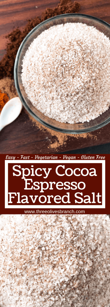 Spicy Cocoa Espresso Flavored Salt is a fast and easy seasoning, great for summer grilling and BBQ. Make a batch as a gift for Father's Day. Great on steak, beef, pork, and vegetables. Vegan, vegetarian, gluten free, dairy free. #flavoredsalt #grillingrecipes #seasoning