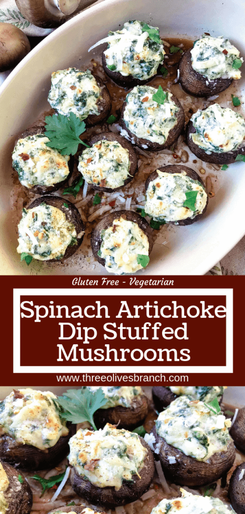 Fast and easy appetizer recipe for party entertaining finger food and game day. Gluten free, low carb keto, and vegetarian, these Spinach Artichoke Dip Stuffed Mushrooms are filled with cheese, spinach, and artichoke hearts. #stuffedmushrooms #glutenfreerecipes #spinachartichokedip