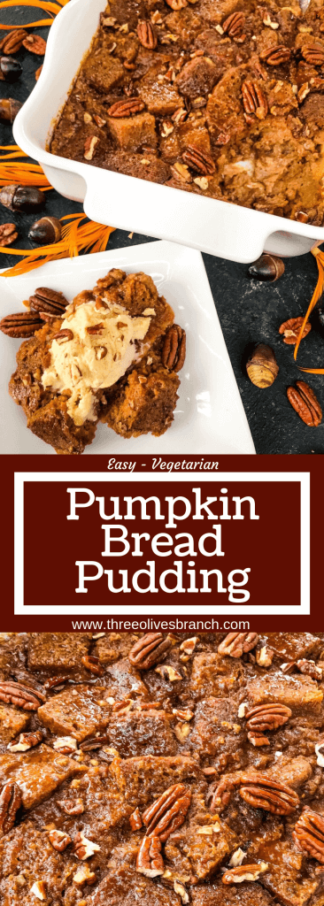 An easy fall dessert recipe, Pumpkin Bread Pudding is a pumpkin dessert made with pumpkin bread, pecans, pumpkin spice, pumpkin puree, and cream custard. Serve with ice cream or caramel. #pumpkinspice #breadpudding #pupkindessert