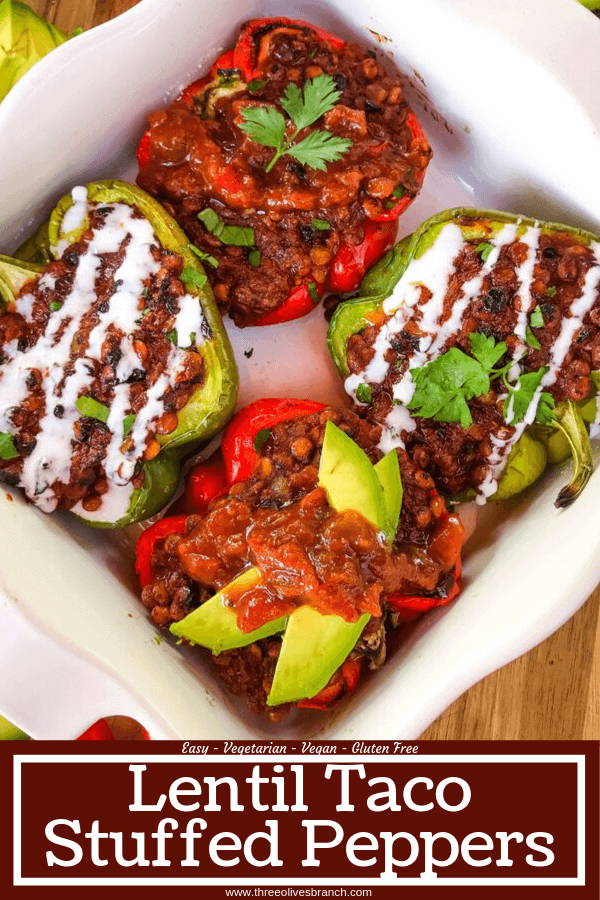 Vegan Lentil Taco Stuffed Peppers are bell peppers stuffed with lentils cooked in a taco tomato sauce. Vegan stuffed peppers are gluten free and vegetarian Mexican food recipe. #veganstuffedpeppers #stuffedpeppers #vegantacos