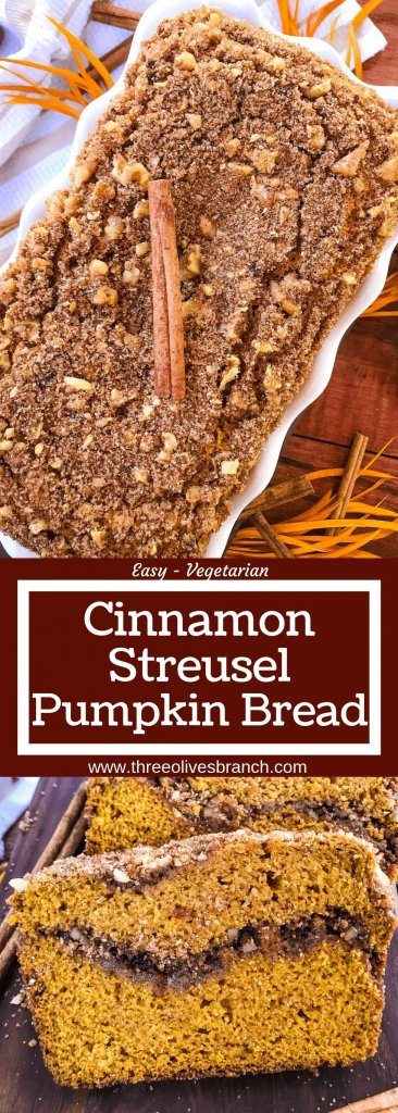 Cinnamon Streusel Pumpkin Bread is a great fall baking recipe. Pumpkin spice bread is swirled with a pecan cinnamon sugar streusel and topped with more streusel. Great for breakfast, dessert, or a snack. #pumpkinbread #fallbaking #pumpkinspice