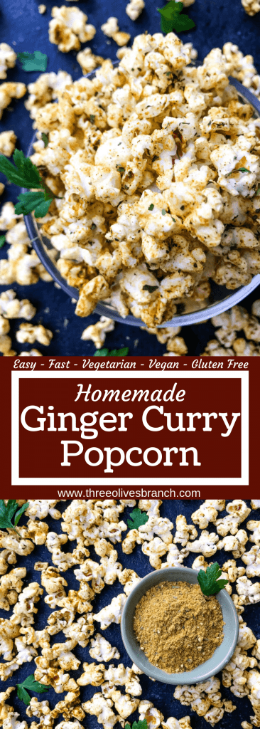 Homemade Ginger Curry Popcorn recipe ready in just 10 minutes. A vegan, vegetarian, and gluten free snack. Great for entertaining, party food, and game day. #popcornrecipes #homemadepopcorn #popcornseasoning