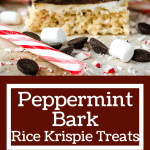 Long pin of Peppermint Bark Rice Krispie Treats with title