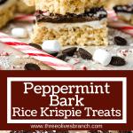 Longer pin of Peppermint Bark Rice Krispie Treats with title