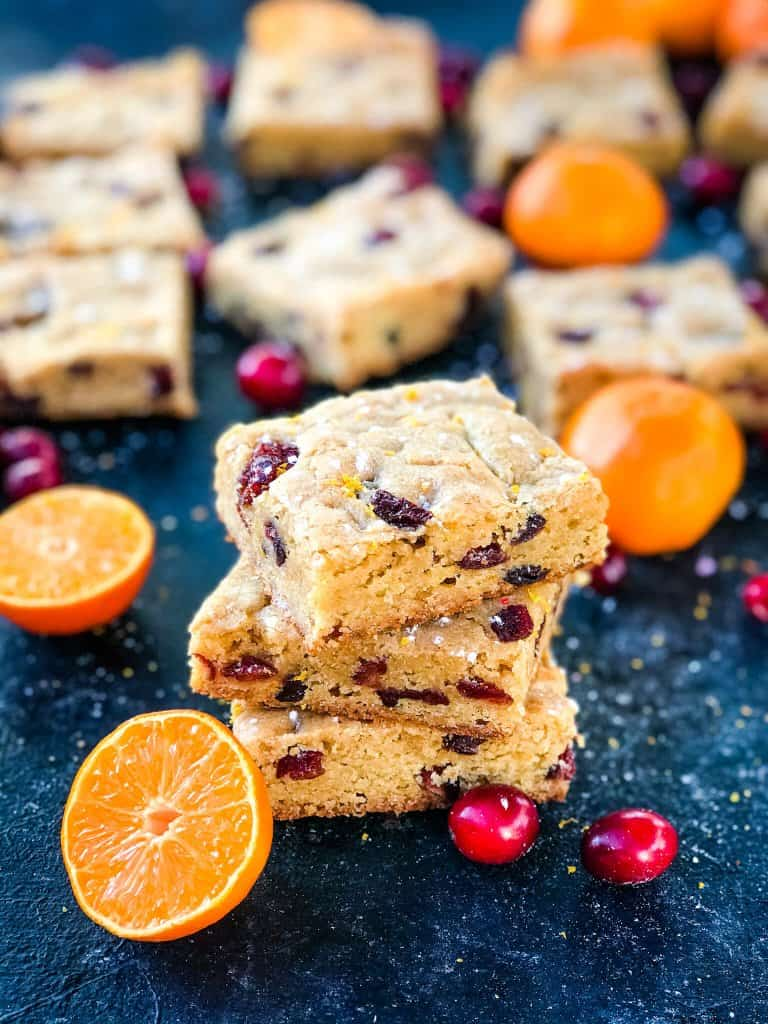 Cranberry Orange Blondies recipe of soft cookie bars filled with dried cranberries and orange
