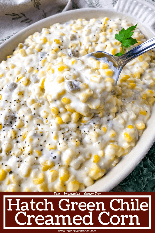Pin image of Hatch Green Chile Creamed Corn with title at bottom