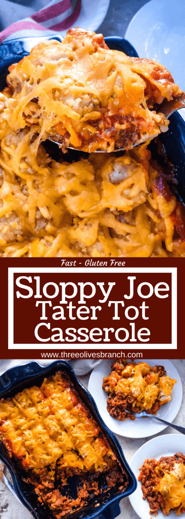 Beef Sloppy Joe Tater Tot Casserole is a cheesy beef casserole recipe using the same flavors of a sloppy joe with cheddar cheese and potato tater tots. An easy dinner idea for busy nights for the family. #beefcasserole #sloppyjoes #hamburgercasserole