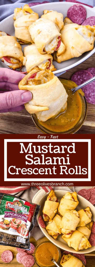 Cheesy Mustard Salami Crescent Rolls are filled with Margherita® Genoa Salami, cheese, and a simple mustard sauce served with more mustard sauce for dipping! An easy and fast appetizer recipe for party entertaining and game day or snack. #crescentrolls #salami #appetizerrecipes