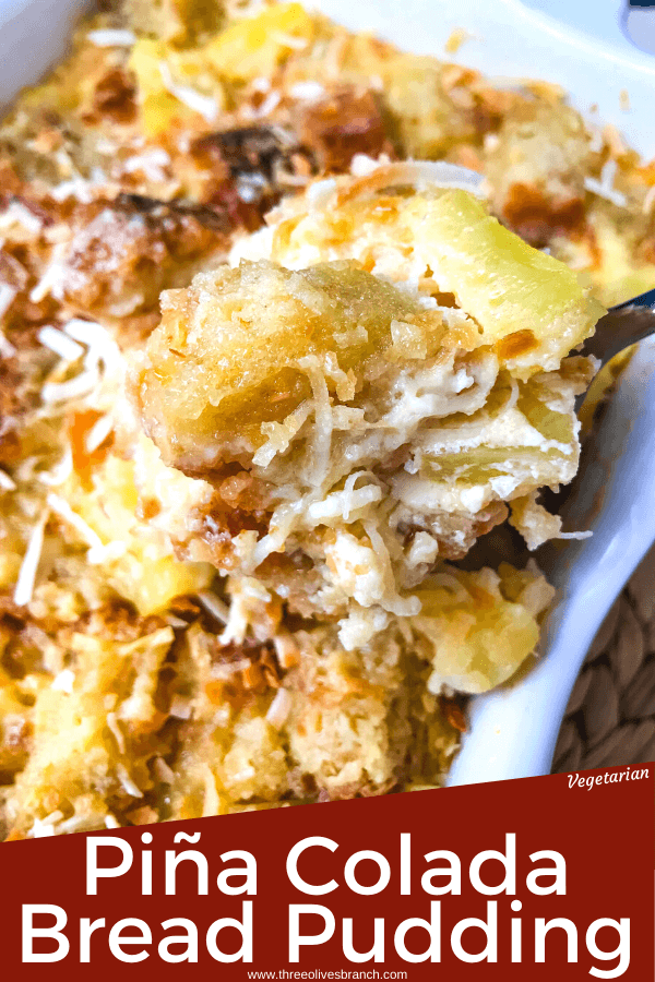 Pina Colada Bread Pudding is full of pineapple, coconut, and rum in a simple dessert recipe. A sweet take on the rum cocktail. #pineapplecoconut #pinacolada #breadpudding