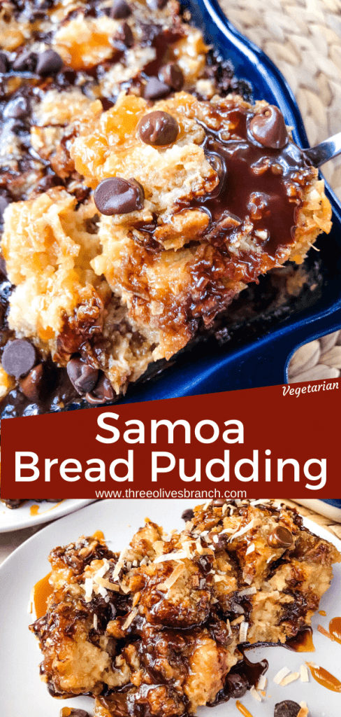Samoa Bread Pudding is full of Samoa Girl Scout Cookie flavors of caramel, chocolate, and coconut in a simple dessert recipe. #girlscoutcookies #samoas #breadpudding