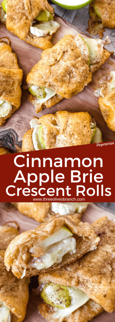 Cinnamon Apple Brie Crescent Rolls are a cheese crescent roll recipe filled with sliced apples, cinnamon, and brie cheese. Fast and easy sweet bread recipe. #crescentrolls #cheesycrescentrolls #cinnamonapple