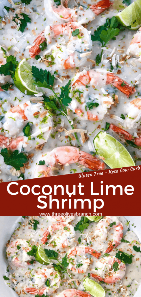 Coconut Lime Shrimp is ready in just 20 minutes! Gluten free and low carb Keto shrimp recipe cooked in a simple coconut milk and lime sauce. Serve with coconut rice. #coconutshrimp #coconutlime #shrimprecipe