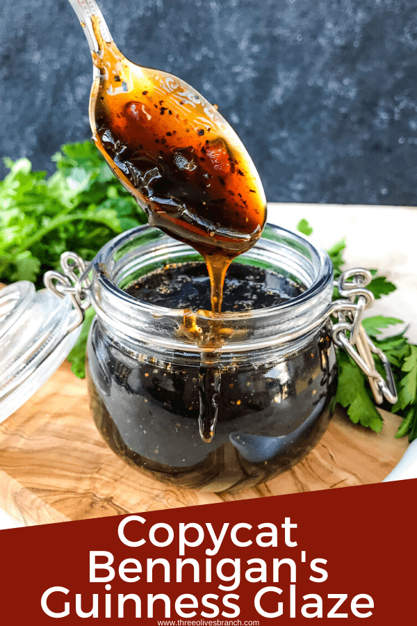 Copycat Bennigan's Guinness Glaze is a great sauce recipe inspired by the restaurant for grilling, BBQ, or St Patrick's Day. The Irish stout glaze is a thickened beer sauce that works on just about everything like chicken, steak, beef, and pork. #Guinness #Irishrecipes #StPatricksDay