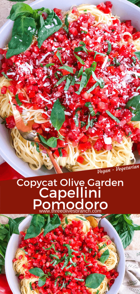Copycat Olive Garden Capellini Pomodoro is a fresh, easy tomato basil pasta. Fresh tomatoes and basil on angel hair pasta to replicate the vegan Italian pasta restaurant recipes. #olivegardenrecipes #copycat #tomatopasta #tomatobasil