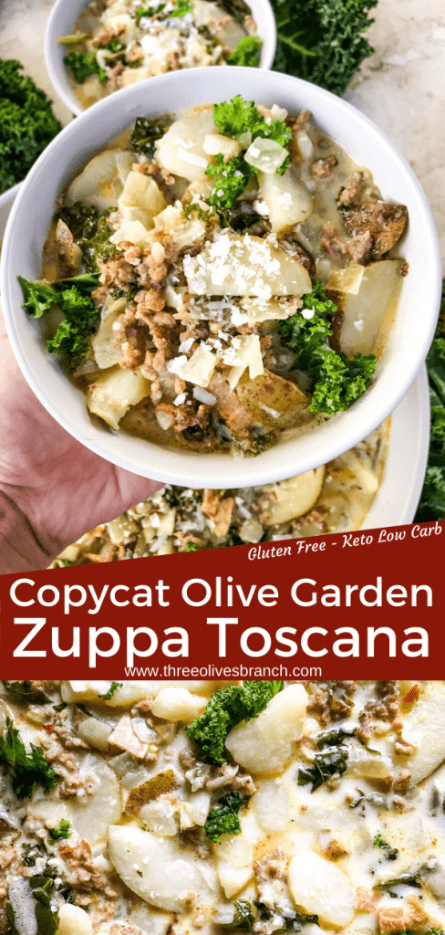 Copycat Olive Garden Zuppa Toscana soup recipe is just like the restaurant! An authentic Italian sausage, potato, kale soup. Keto low carb and gluten free. #copycatrecipes #olivegarden #zuppatoscana