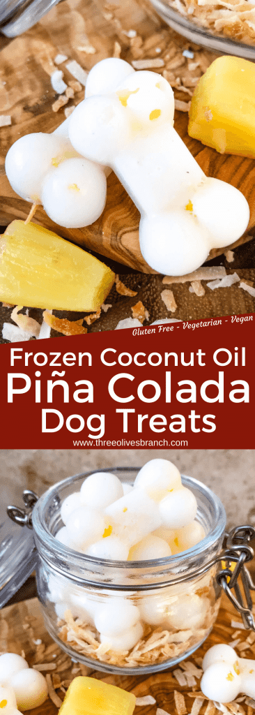 Frozen Pina Colada Dog Treats are a simple, healthy, easy DIY homemade dog treat recipe made with pineapple, coconut, and coconut oil which is great for their fur and skin. Check with your vet for any concerns. #homemadedogtreats #coconutoil #diydogtreats