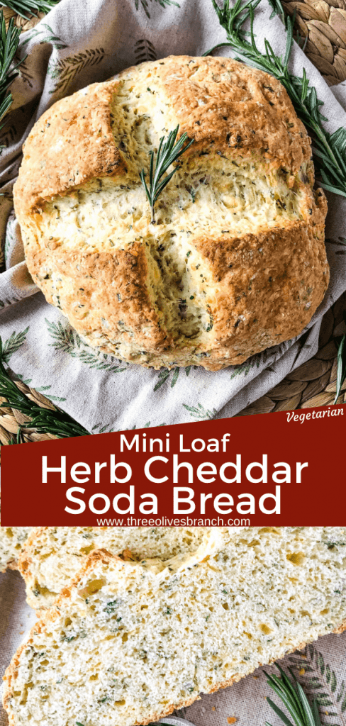 Irish Herb Cheddar Soda Bread Mini Loaf recipe is a simple no yeast cheese bread for St Patrick's Day. An easy homemade bread recipe. #irishbread #sodabread #homemadebread #noyeastbread