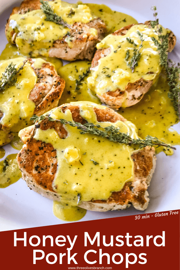 Get these Creamy Honey Mustard Pork Chops on the table in just 30 minutes! Pan seared pork chops are topped with a simple honey mustard pan sauce. Gluten free. Serve with rice, potatoes, or vegetables. #honeymustard #porkchops #30minutemeals