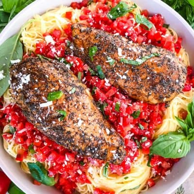 Balsamic Chicken Bruschetta Pasta