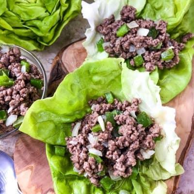 Philly Cheesesteak Lettuce Wraps