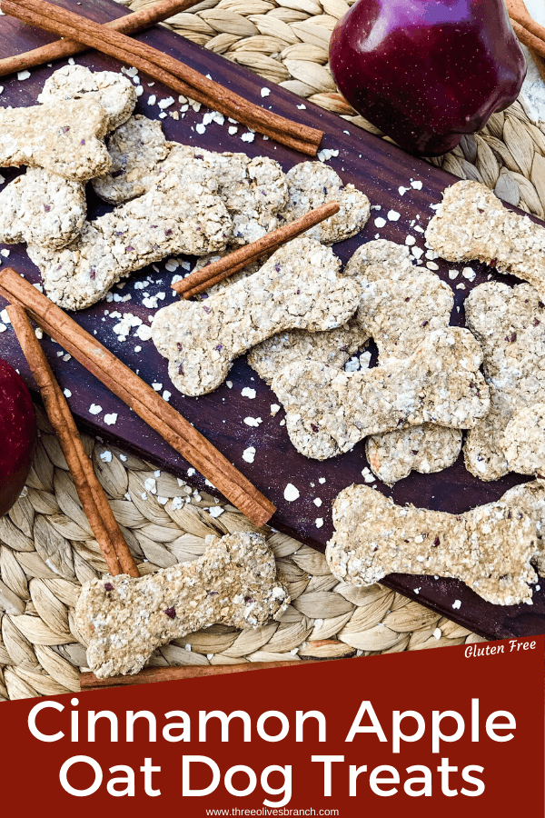 Oat Cinnamon Apple Dog Treats are full of simple ingredients in an easy homemade dog treat. These dog cookies are gluten free. Add flax seed if desired. #cinnamonapple #dogtreats #dogcookies