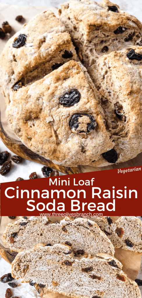 Irish Cinnamon Raisin Soda Bread Mini Loaf is a simple Irish soda bread perfect for St Patrick's Day! Filled with cinnamon and raisins. #sodabread #Irishrecipes #stpatricksday