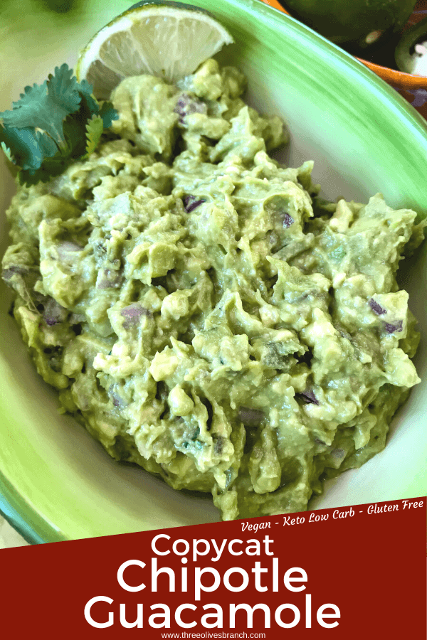 Copycat Chipotle Guacamole just like the Mexican restaurant! Avocado is mixed with jalapeno pepper, lime, red onion, and cilantro. A fast and easy appetizer dip or Mexican condiment. #copycatrecipes #chipotleguacamole #avocado