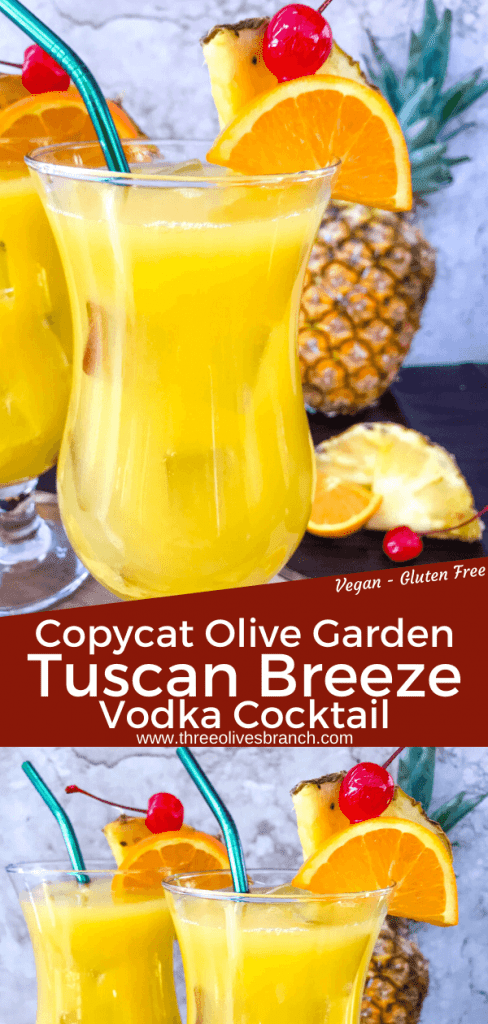 Copycat Olive Garden Tuscan Breeze Vodka Cocktail recipe. Pineapple, orange, and banana tropical alcoholic drink based on the restaurant favorite. A great summer cocktail. #copycatrecipes #vodkacocktail #tropicalcocktail