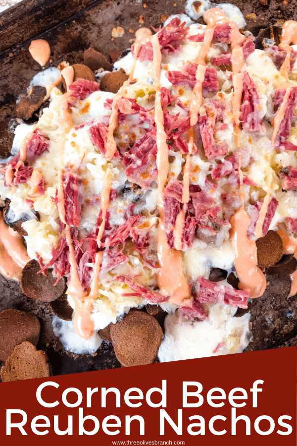 Pin image for Reuben Irish Nachos from top view on a baking sheet with title at bottom