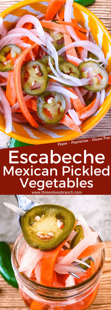 Homemade Escabeche (Mexican Pickled Vegetables) is a quick pickle recipe made with jalapeno peppers, carrot, and red onion. A gluten free and vegan refrigerator pickle that makes a great condiment. #escabeche #mexicanpickles #quickpickle #refrigeratorpickle