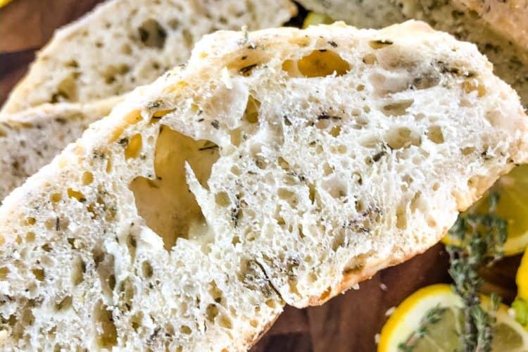 No Knead Rustic Lemon Thyme Bread