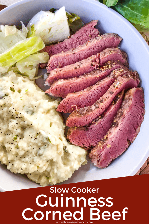 Slow cooker pin for Guinness Corned Beef sliced with cabbage and colcannon