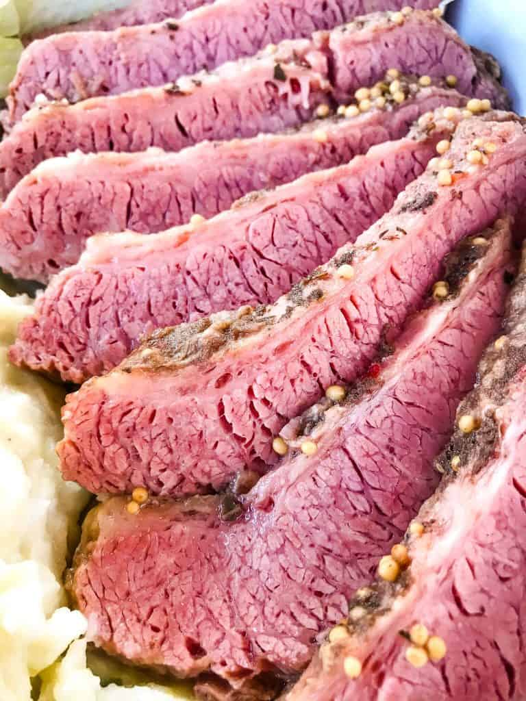 Close up of slices of Guinness Corned Beef