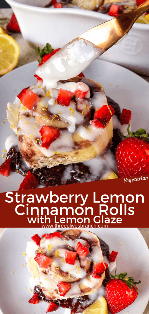 Homemade Strawberry Lemon Cinnamon Rolls with lemon icing glaze. Fresh strawberries and strawberry jam with cinnamon in a homemade dough. Bright spring and summer flavors for home breakfast and brunch baking recipes. #cinnamonrolls #strawberrylemon #bakingrecipes
