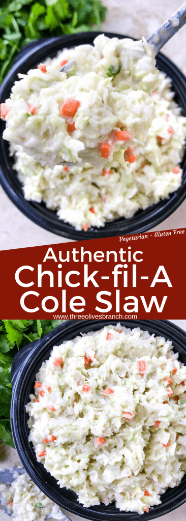 Authentic Copycat Chick-fil-A Cole Slaw recipe from the restaurant. The real recipe! An easy coleslaw for any summer BBQ grilling or southern food meal. Cabbage and carrot in a mayonnaise dressing recipe. Gluten free, vegetarian. #copycatrecipes #coleslaw #bbqsidedishes