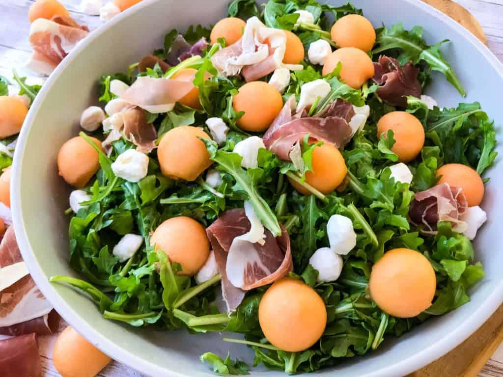 Prosciutto Melon Salad with Mozzarella and Arugula