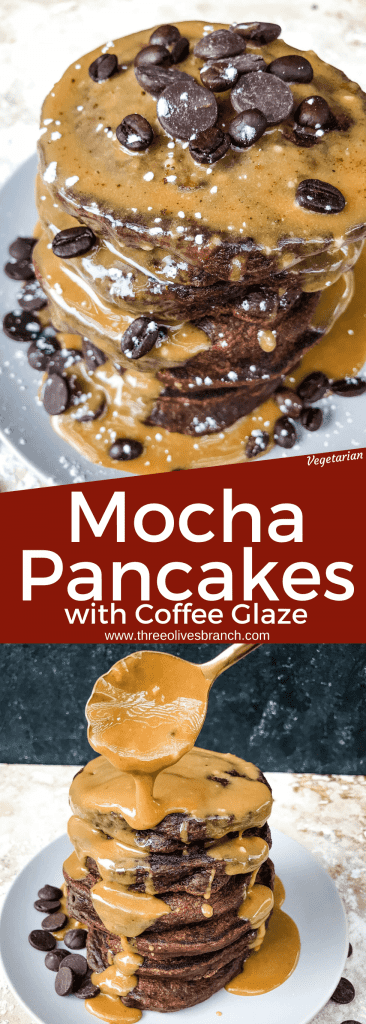 Mocha Pancakes with Coffee Glaze is an easy homemade pancakes recipe filled with cocoa powder, coffee, and chocolate. A fun dessert breakfast or brunch. #homemadepancakes #chocolatepancakes #sweetpancakes