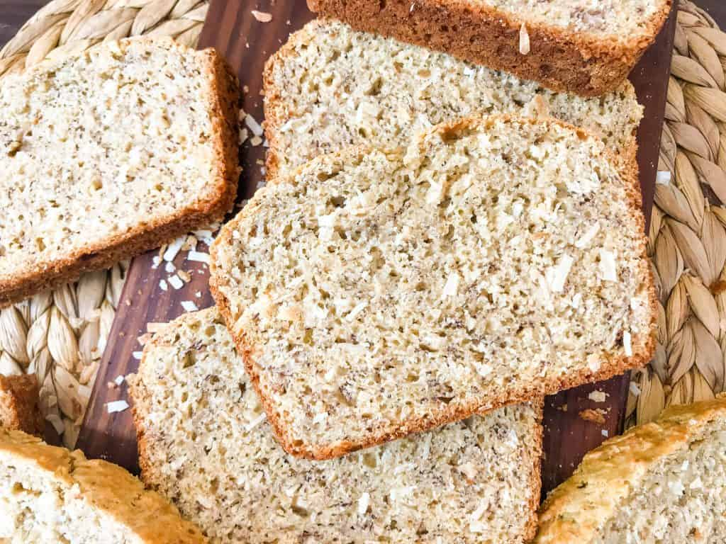 Slices of coconut bread piled up