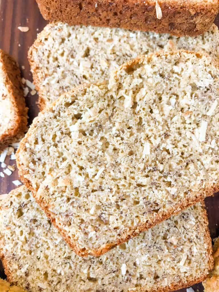 A close up picture of banana bread