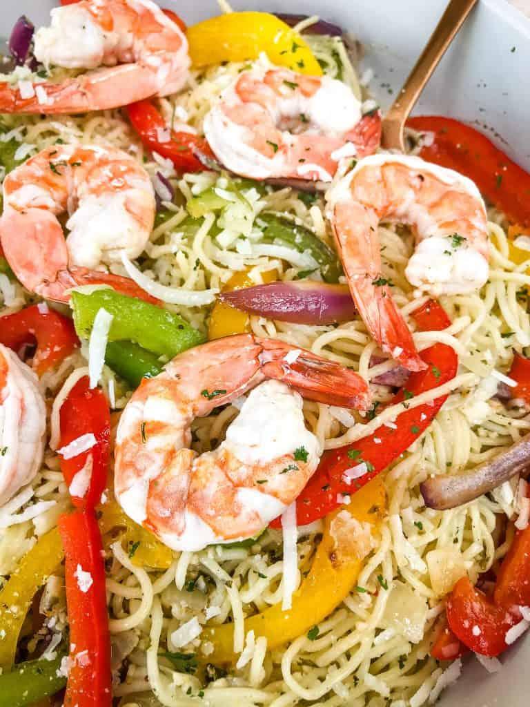 A close up of Copycat Olive Garden Shrimp Scampi in a bowl