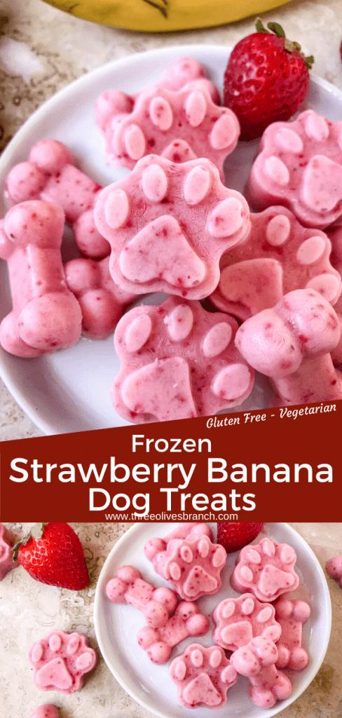 Frozen Strawberry Banana Dog Treats are an easy homemade dog treat. These DIY dog treats are full of strawberries, banana, yogurt, and honey. A great cold summer treat! #homemadedogtreats #frozendogtreats #strawberrydogtreats