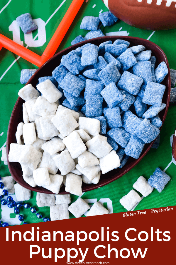 Pin image of Indianapolis Colts Puppy Chow muddy buddies in blue and white separated in football bowl with green football field background