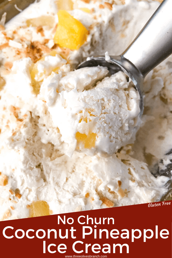 No Churn Pina Colada Ice Cream is an easy homemade ice cream with no sweetened condensed milk. A coconut milk base is mixed with heavy cream, pineapple, and shredded toasted coconut. Gluten free tropical summer dessert recipe. #nochurnicecream #coconuticecream #pinacolada