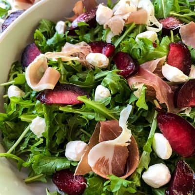 Prosciutto Plum Arugula Salad with Mozzarella