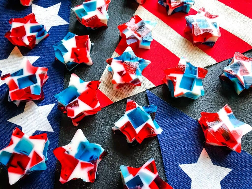 Mosaic red, white, and blue jello stars on American flag banner