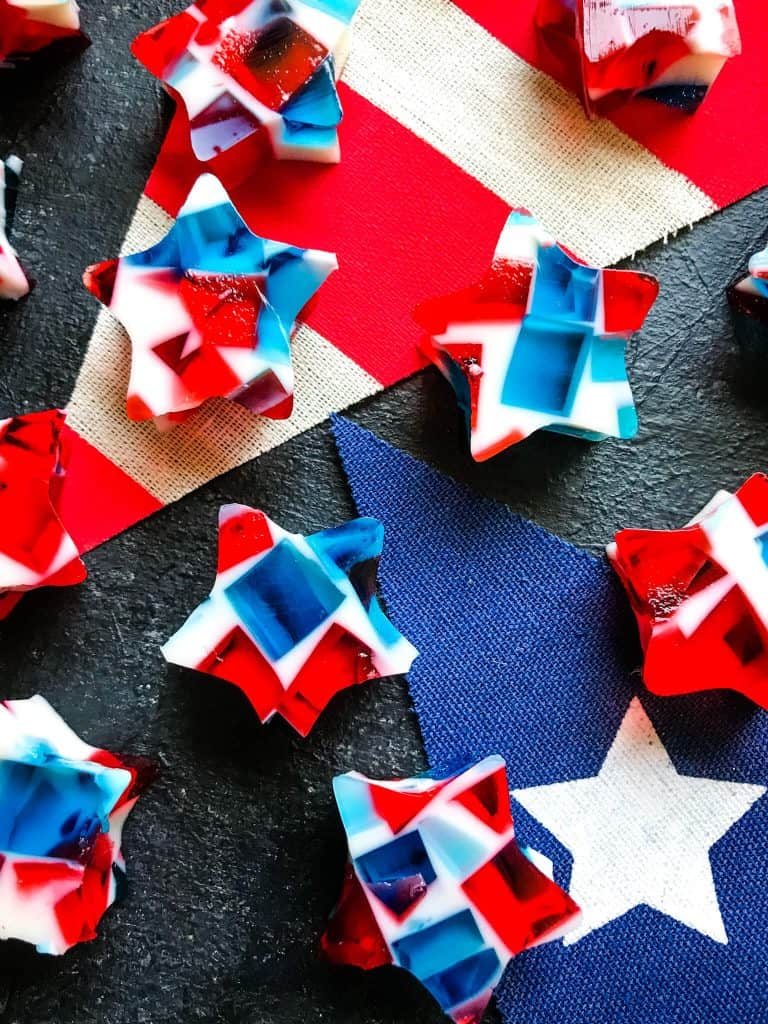 Close up of patriotic Red White and Blue Jello Shots Stars