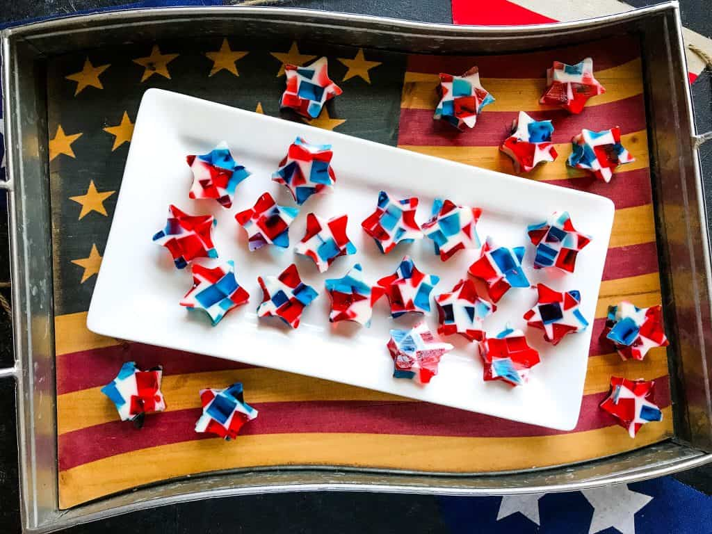 4th of July jello shot stars on American flag tray