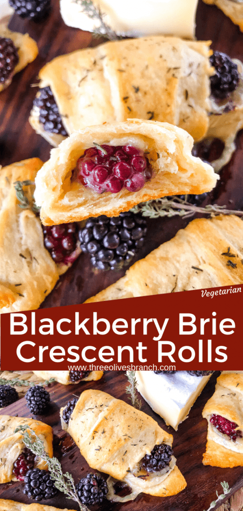 Blackberry Brie Crescent Rolls are a cheese crescent roll recipe filled with dried thyme, blackberries, and brie cheese. Add jam! Fast and easy sweet bread recipe. #crescentrolls #cheesycrescentrolls #blackberries