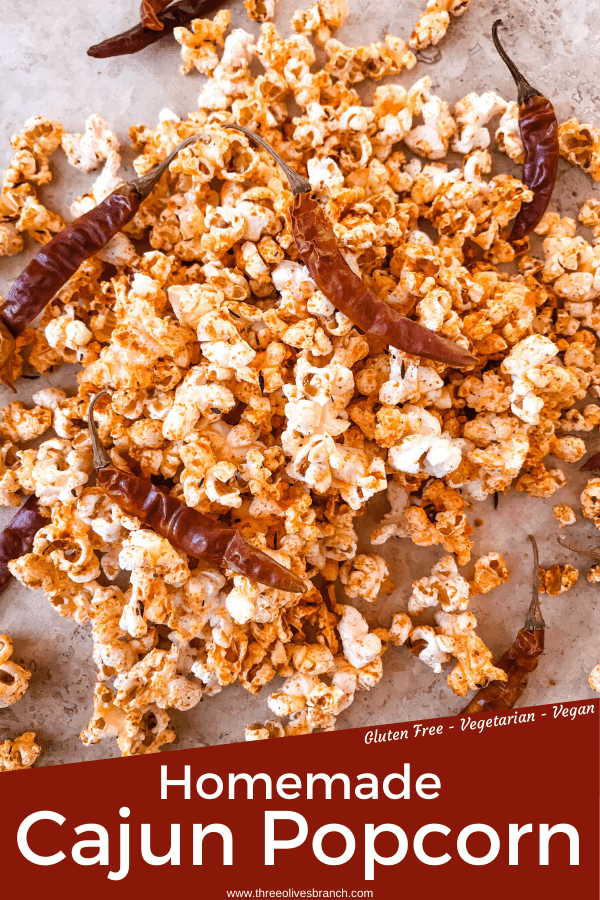 Pin image of Homemade Cajun Popcorn with title at bottom